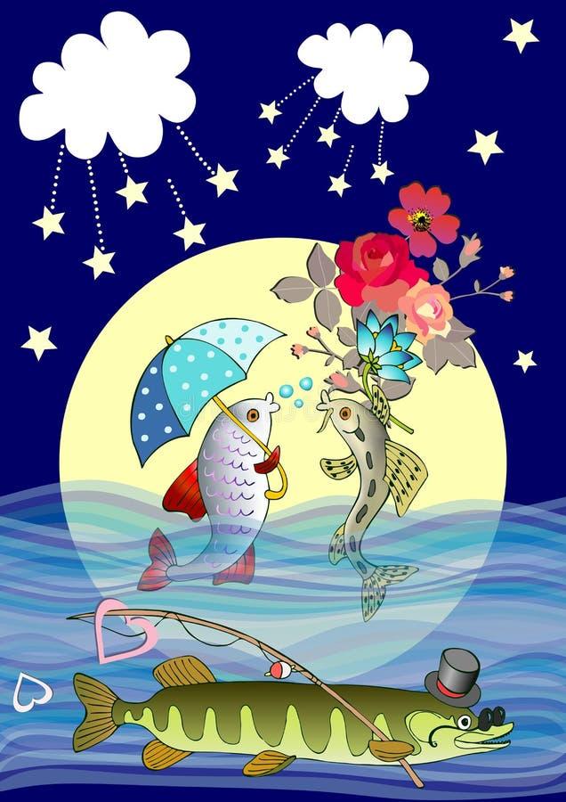 Reizende Vektorkarte mit netten Karikaturfischen in der Liebe und schlauer Spieß mit Hut, Sonnenbrille und Angelrute gegen den Vo vektor abbildung