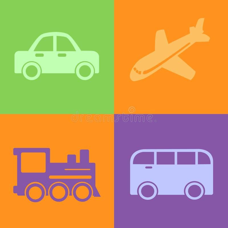 Reizende vervoerpictogrammen royalty-vrije illustratie