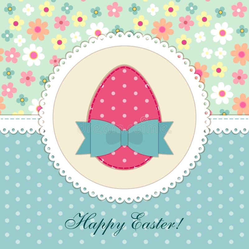 Reizende Weinlese Ostern-Karte mit Fleckengewebeapplikation des Eies im Shabby-Chic-Stil vektor abbildung