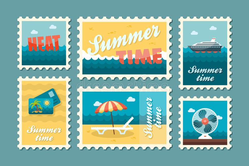 Reizende zegelreeks De zomer Vakantie royalty-vrije illustratie