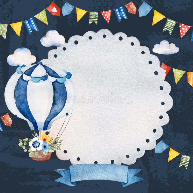 Reizende Zirkuseinladung mit Luftballon, Bandfahne, flaumige Wolken, Girlanden lizenzfreie abbildung