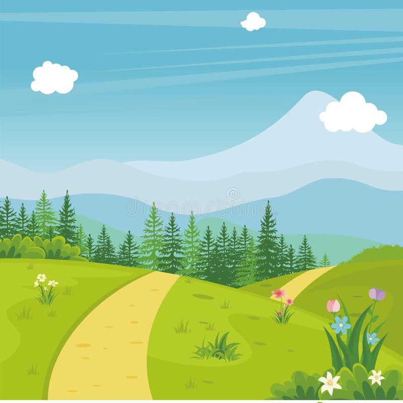 Reizender Frühlingslandschaftshintergrund mit Karikaturart stock abbildung