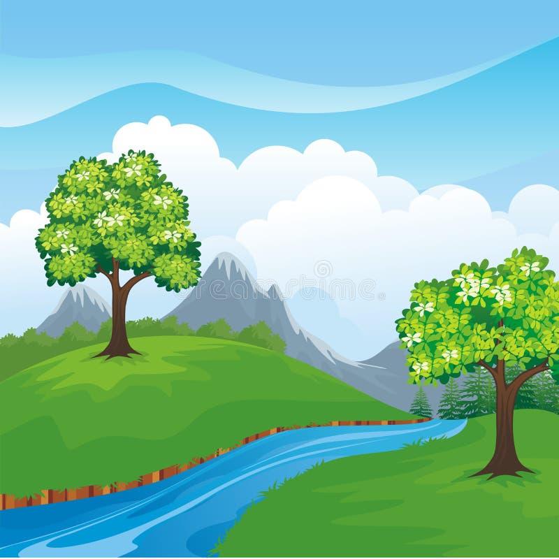 Reizender Frühlingslandschaftshintergrund mit Karikaturart lizenzfreie abbildung