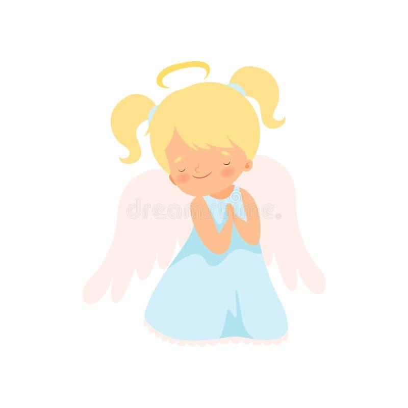 Reizender Mädchen-Engel mit Nimbus und Flügel, entzückende Baby-Zeichentrickfilm-Figur im Amor oder Engel-Kostüm-Vektor-Illustrat lizenzfreie abbildung