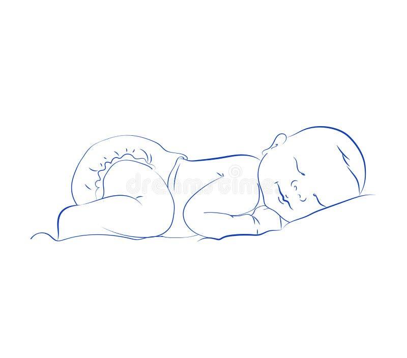 Reizender neugeborener Schlafenvektor Nettes kleines schlafendes Kind Konturn-Skizze, Hand gezeichnet stock abbildung