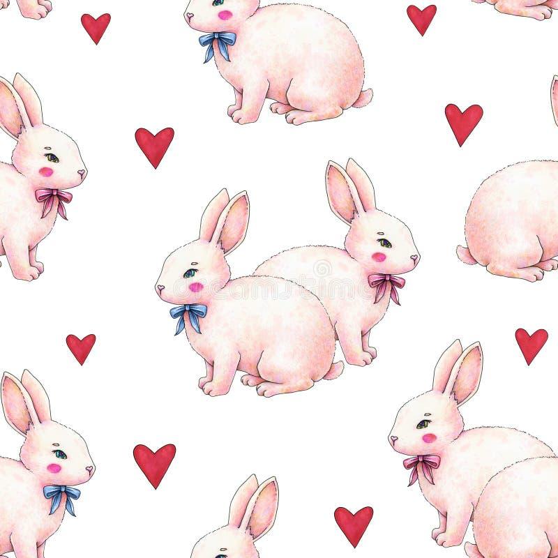 Reizender rosa Animationskaninchen-Häschenhase mit einem Bogen in der Liebe wird auf einem weißen Hintergrund lokalisiert Kinderf lizenzfreie abbildung