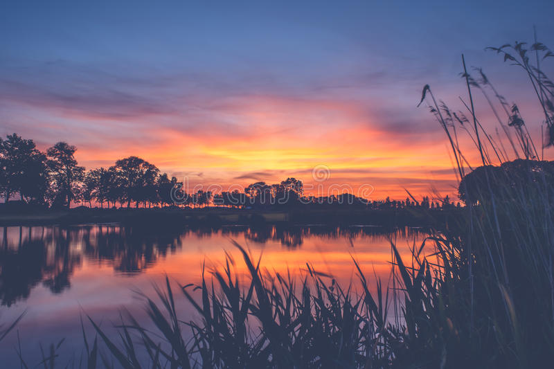 Reizender Sonnenuntergang in einer typischen niederländischen Landschaft stockfotos