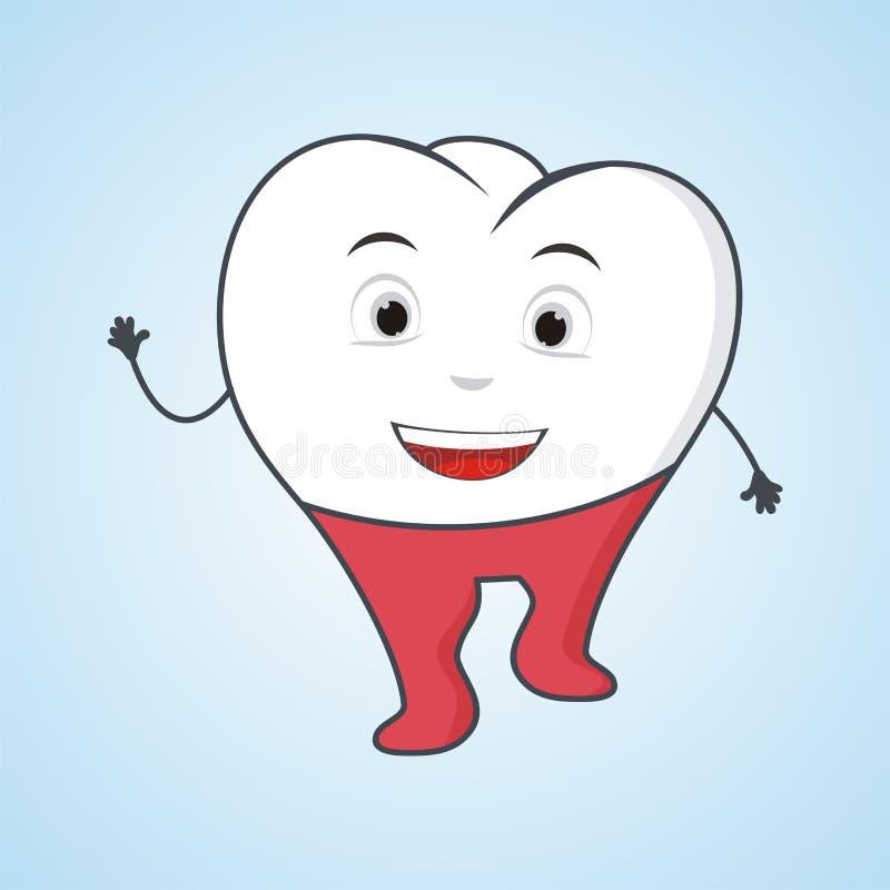Reizender Zahn mit lustiger Illustration lizenzfreie abbildung