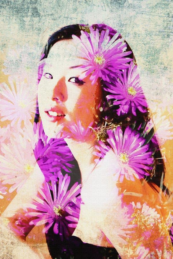 Reizendes asiatisches Modell wird durch Gänseblümchenblumen in dieser Doppelbelichtungsphotographie umgeben stockfotos