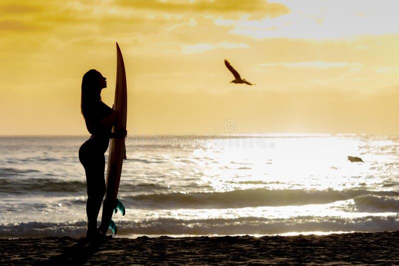 Reizendes Brunette Bikini-Modell With Her Surfboard auf einem Strand lizenzfreie stockfotografie
