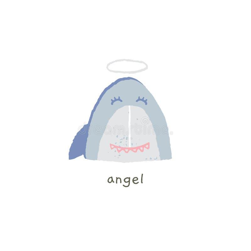 Reizendes Haifischlächeln mit einem Halo engel Handgezogenes Vektor emoji lizenzfreie abbildung