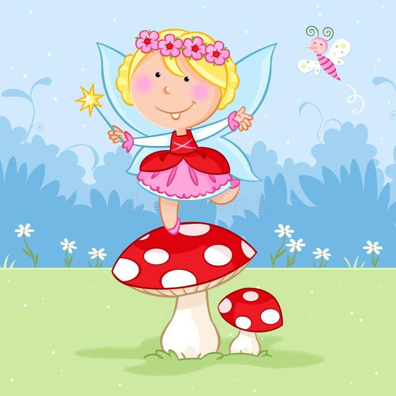 Reizendes kleines feenhaftes Tanzen auf dem roten Pilz und dem netten Schmetterling vektor abbildung