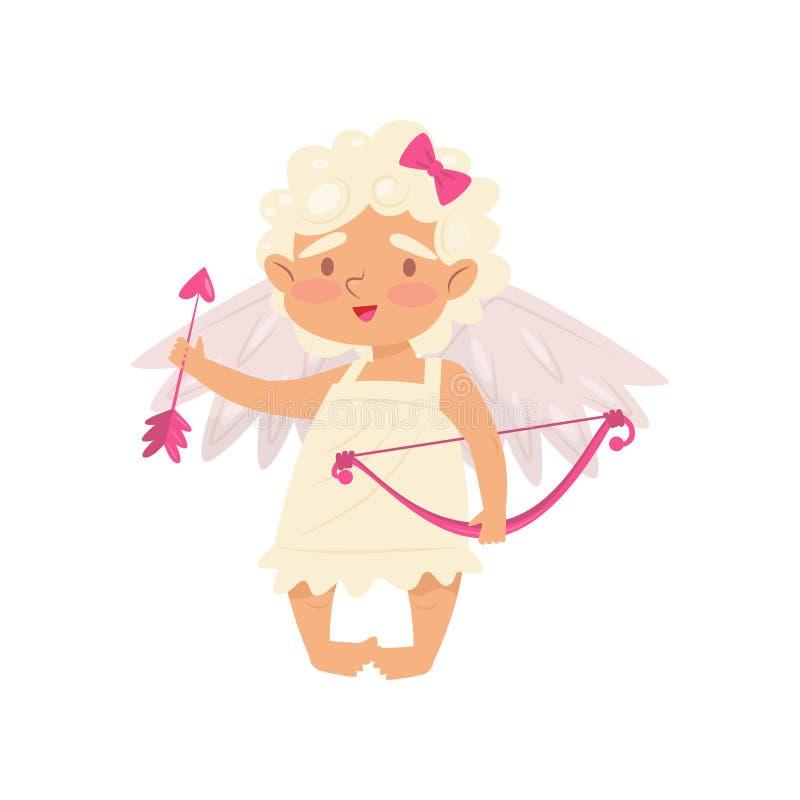 Reizendes kleines Mädchen, das mit rosa Pfeil und Bogen in den Händen steht und hält Engel der Liebe Amor mit Flügeln Flacher Vek stock abbildung
