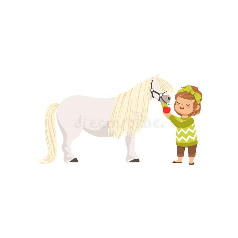 Reizendes kleines Mädchen, das um ihrem Ponypferd einzieht es mit rotem Apfel, Kind sich kümmert um ihrem Tiervektor sich kümmert vektor abbildung