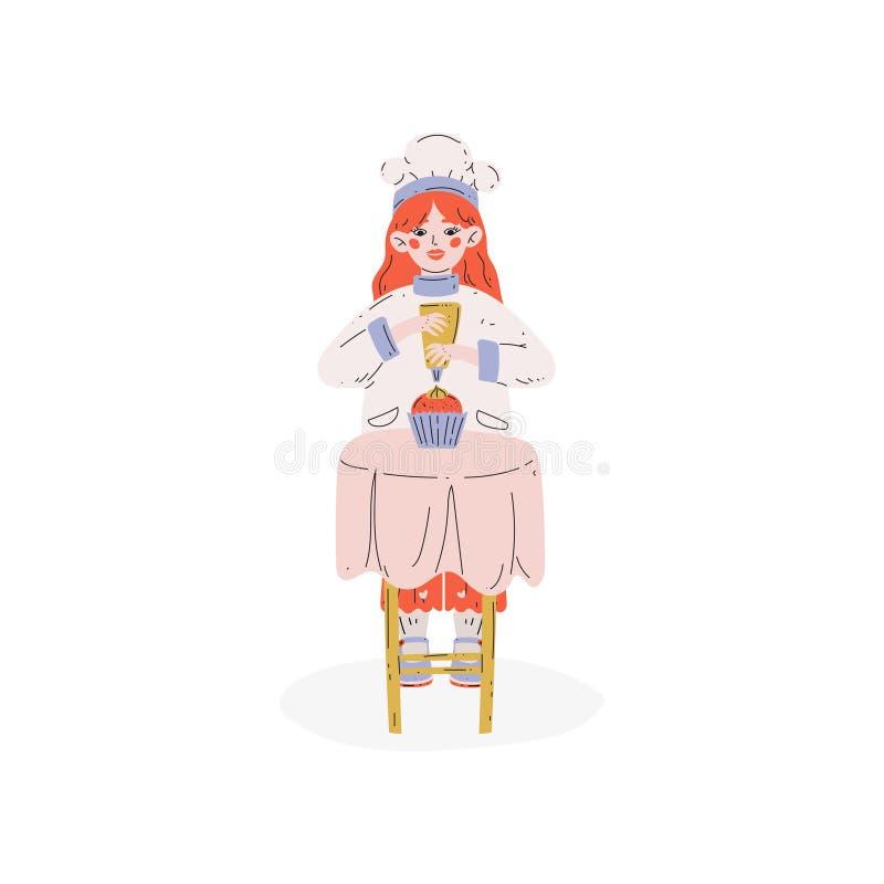 Reizendes Mädchen-backender Kuchen, Hobby, Ausbildung, kreative Entwicklung des Kindess-Vektor-Illustration stock abbildung