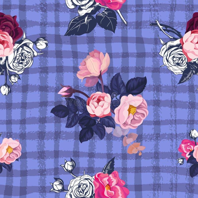 Reizendes nahtloses mit Blumenmuster mit halb-farbigen Bündeln der rosa Rosen gegen purpurroten Hintergrund mit grungy geschnitte vektor abbildung