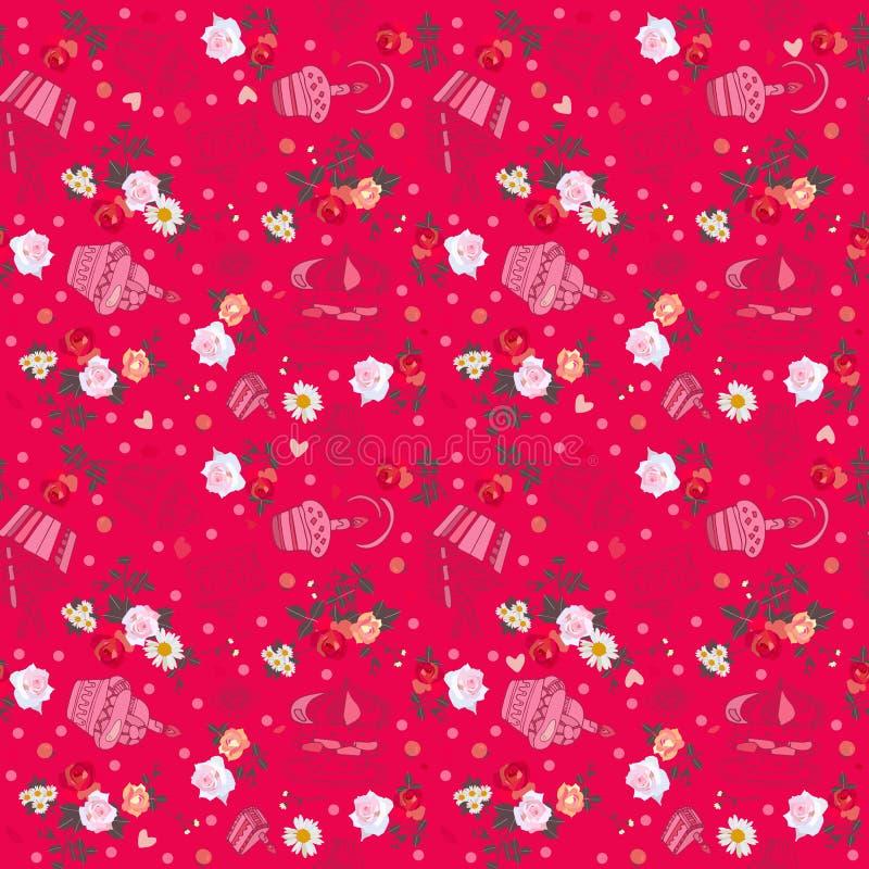 Reizendes nahtloses Muster mit süßen kleinen Kuchen und Blumenstrauß auf hochrotem Hintergrund vektor abbildung