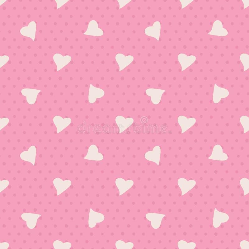 Reizendes nahtloses Vektor-Muster mit gelegentlichem Herzen und Punkt auf rosa Hintergrund vektor abbildung