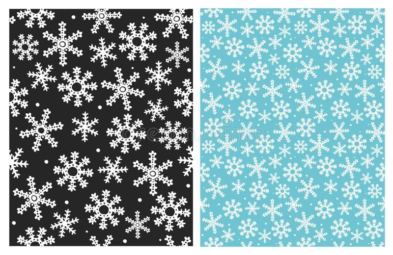 Reizendes Schneeflocken-Vektor-Muster Blauer, Schwarzweiss-Entwurf lizenzfreie abbildung