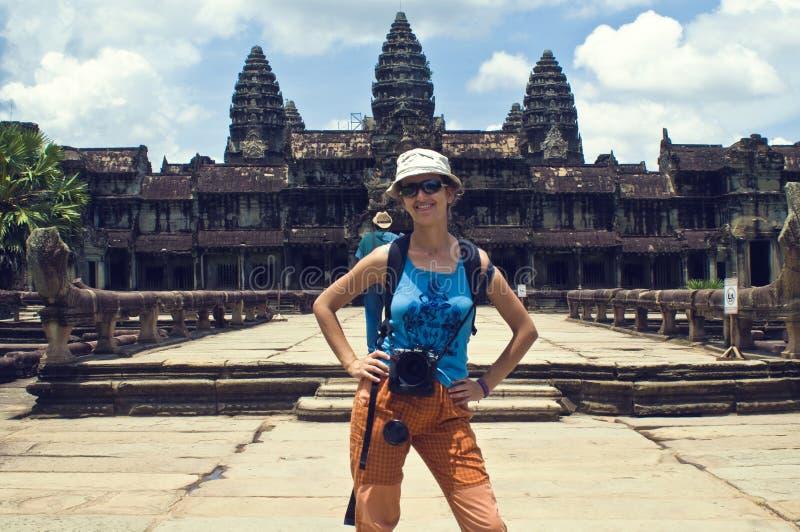 Reiziger in Angkor Wat royalty-vrije stock fotografie