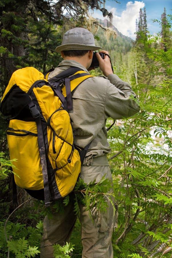 Reiziger met camera stock fotografie