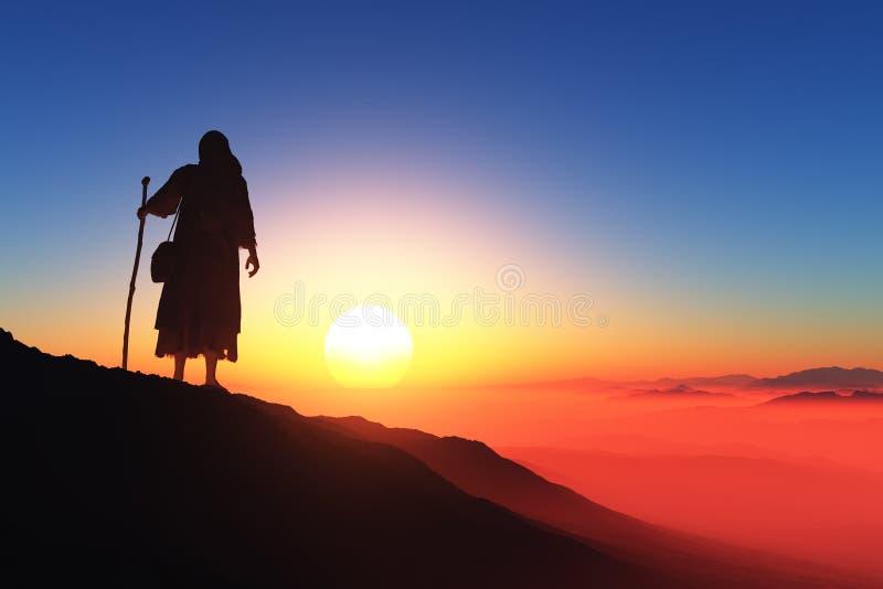 Reiziger op een achtergrond van bergen vector illustratie