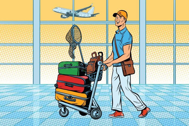Reiziger, toerist met Bagage bij de luchthaven royalty-vrije illustratie