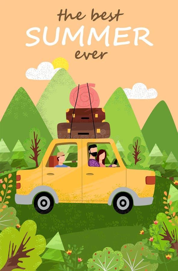 Reizigers in Auto, Mountain View, de Zomervector stock illustratie