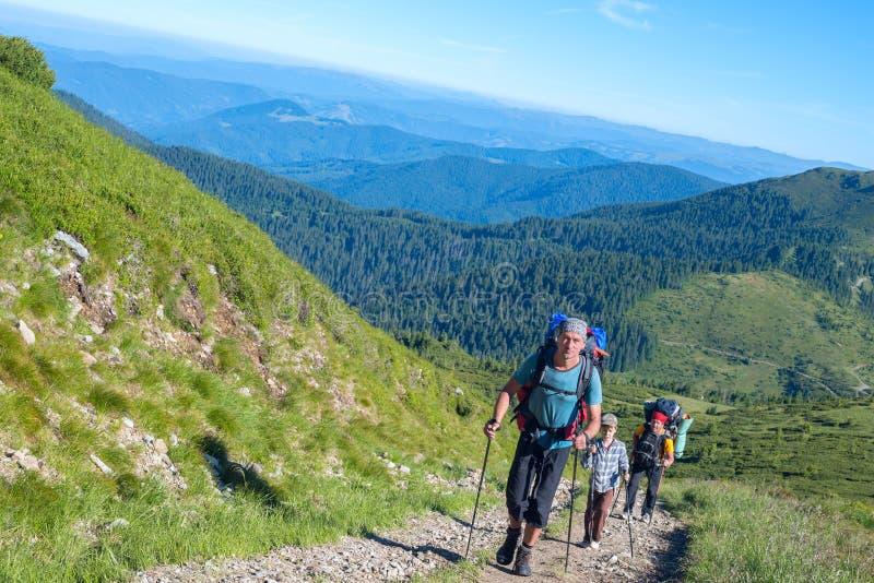 Reizigers - de mensen en de jongen met rugzakken beklimmen op de heuvel royalty-vrije stock foto's