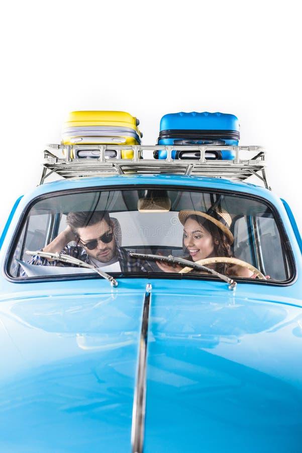 Reizigers die auto drijven stock afbeeldingen