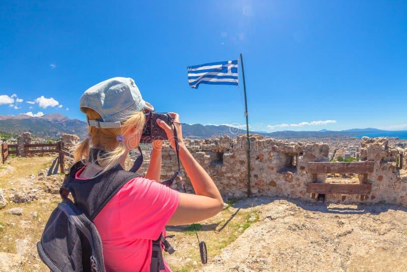 Reizigersfotograaf in Patras royalty-vrije stock afbeelding