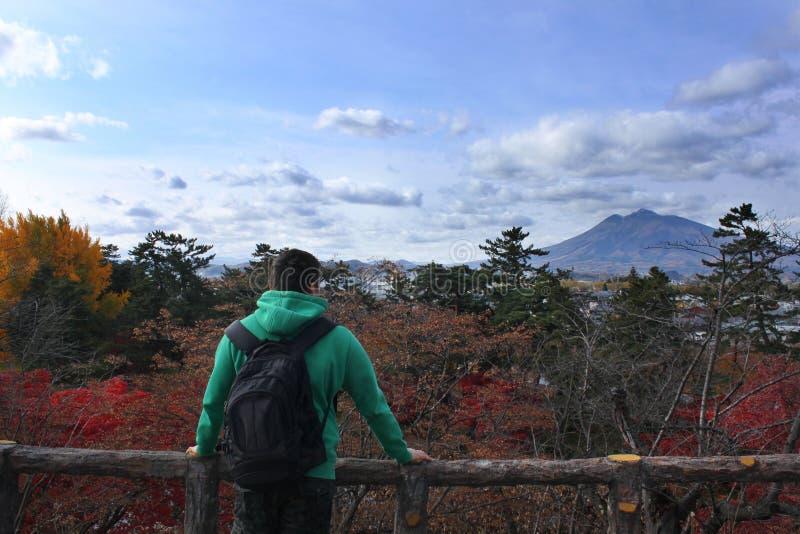 Reizigersmens die met rugzak bergenlandschap kijken royalty-vrije stock afbeeldingen