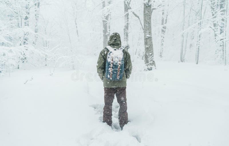 Reizigersmens die in sneeuwbos lopen stock afbeelding