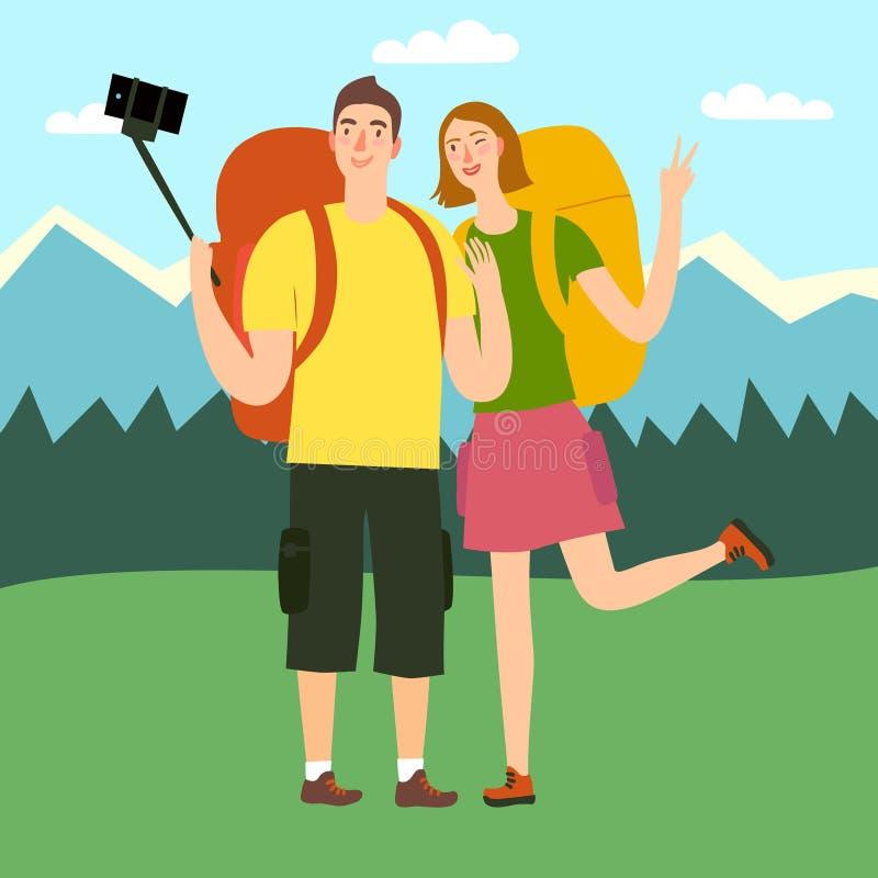 Reizigerspaar die selfie foto maken stock illustratie