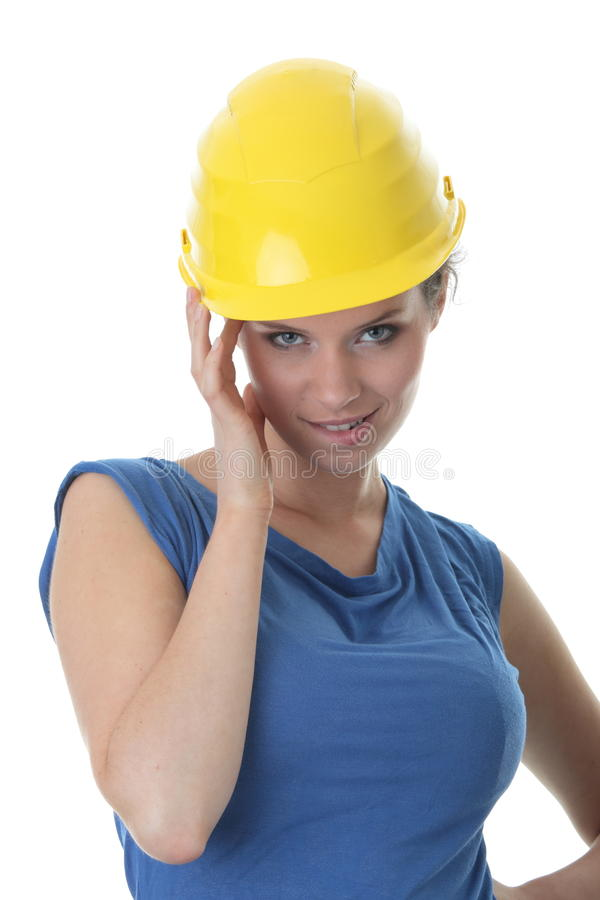 Reizvolle Bauarbeiterfremdfirma der jungen Frau stockbild