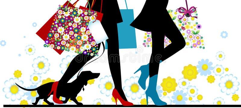 Reizvolle Fahrwerkbeine der Frau mit Beuteln. Einkaufen. lizenzfreie abbildung
