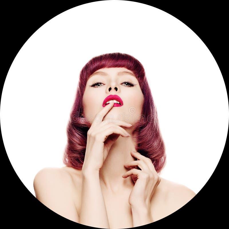 Reizvolle Frau Gesicht mit Make-up stockfoto