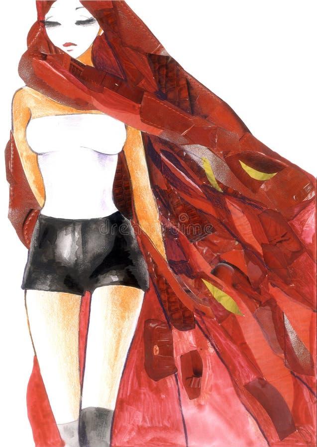 Reizvolle Frau im Rot vektor abbildung