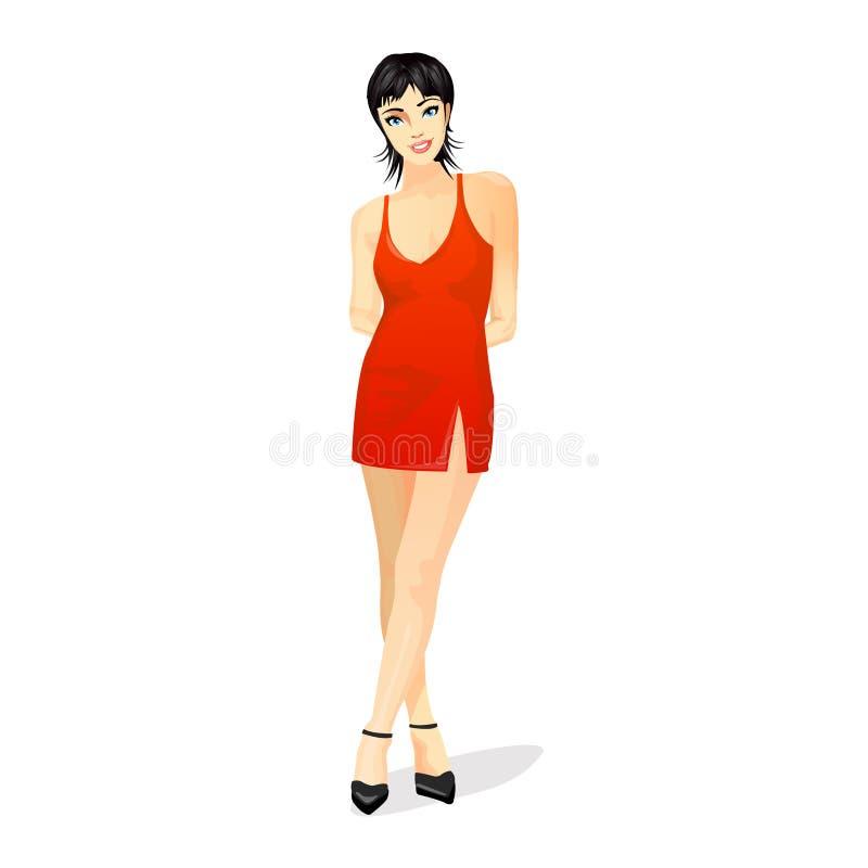 Reizvolle Frau im roten Kleid lizenzfreie abbildung
