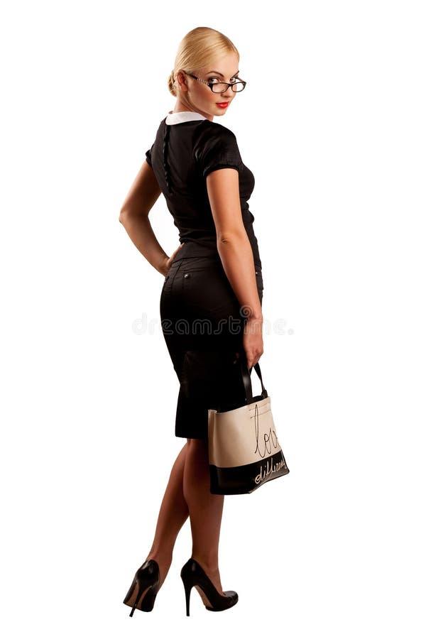 Reizvolle Frau mit Gläsern und Fonds stockbilder