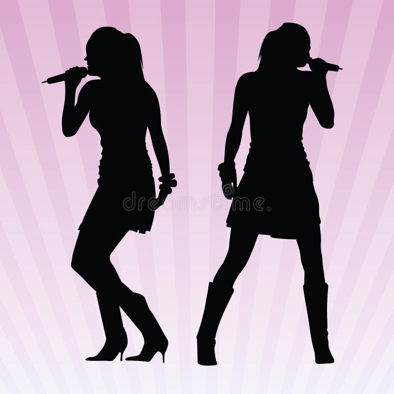 Reizvolle Frauen, die Vektor singen lizenzfreie abbildung