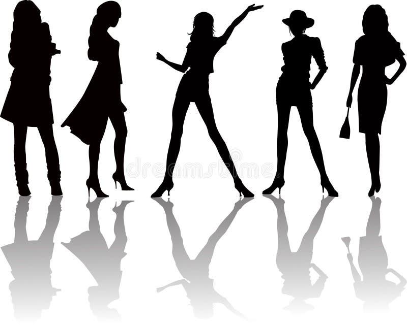 Reizvolle Frauenschattenbilder - Vektor stock abbildung