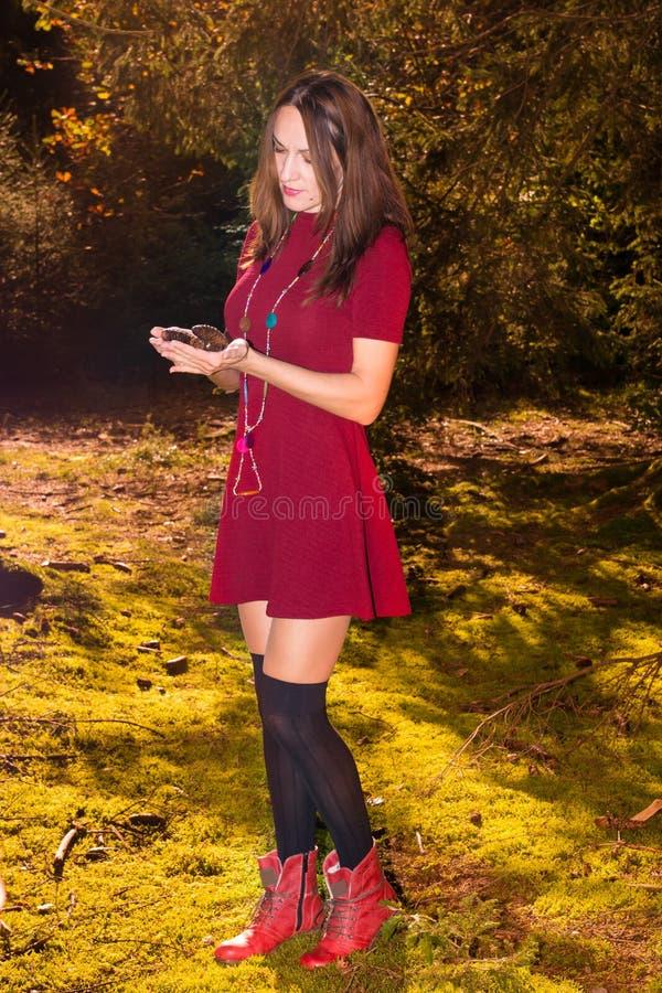 Reizvolle Herbstfrau stockfotografie