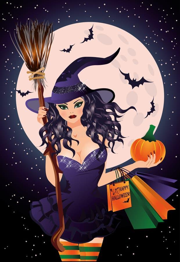 Reizvolle Hexe und Handtaschen Sexuelle Hexen- und Kürbiseinkaufstaschen stock abbildung
