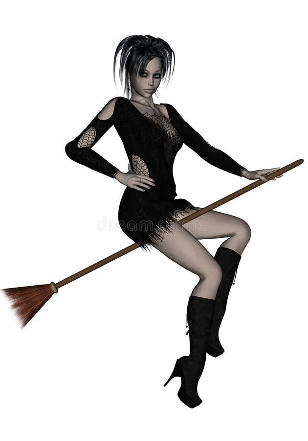 Reizvolle junge Hexe auf einem Broomstick stock abbildung