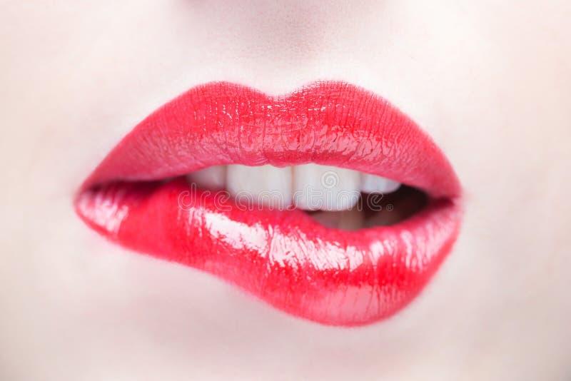 Reizvolle Lippen Schönheits-rotes Lippenmake-updetail lizenzfreie stockfotos