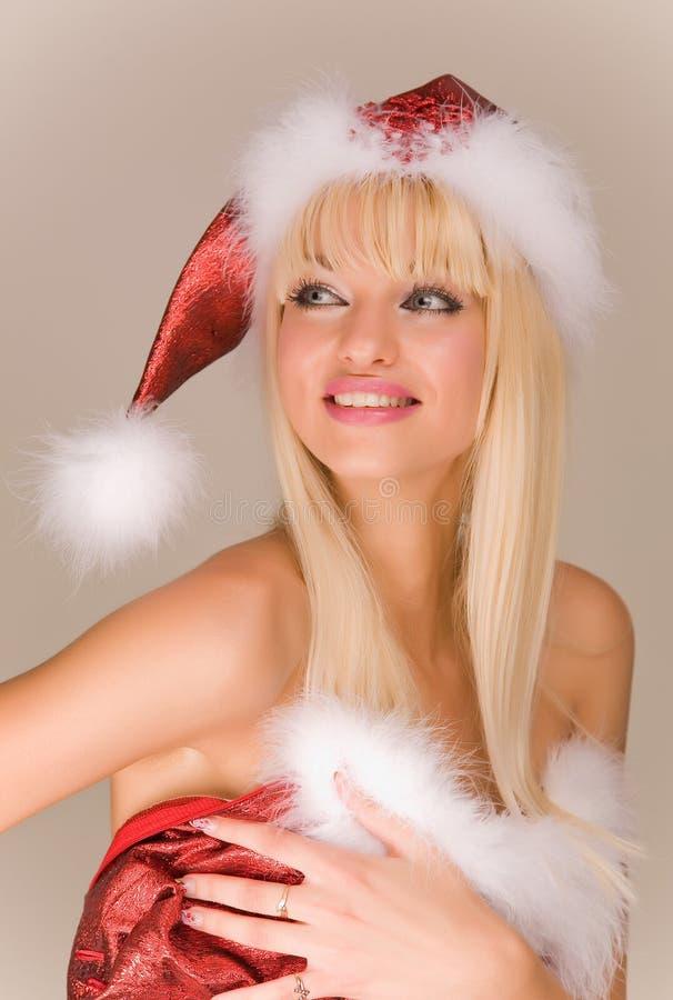 Reizvolle Mrs Weihnachtsmann stockfotos