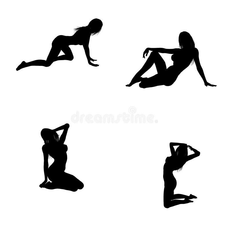 Reizvolle Schattenbilder einer Frau stock abbildung