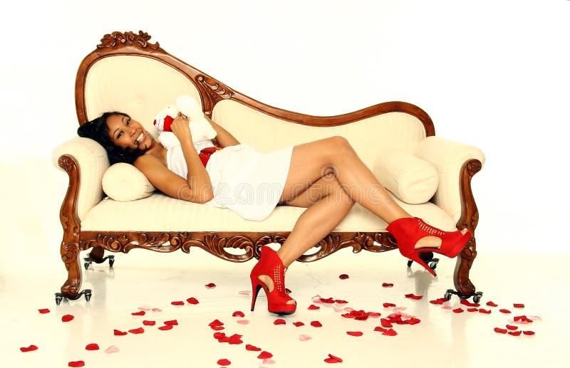 Reizvolle Valentinsgruß-Frau lizenzfreies stockbild