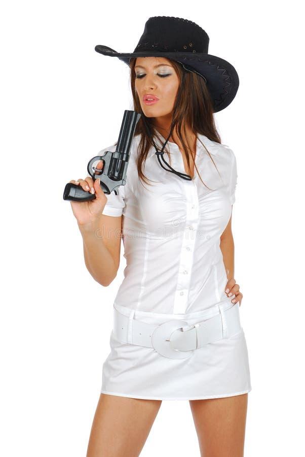 Reizvoller Pistolenheld lizenzfreies stockfoto